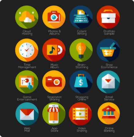 interface web: Ensemble de graphismes plats et les ic�nes d'application Illustration