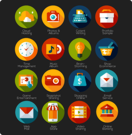 Set of Flat Icons and app Icons Vector