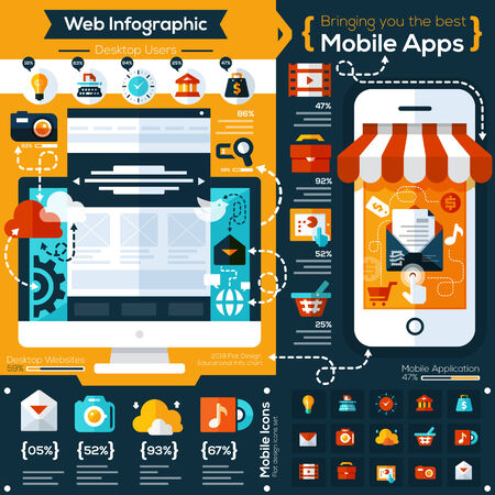 mobile marketing: set of flat design illustrations and flat icons for mobile phone and web apps. Icons for social network, file sharing, online shopping  and mobile services