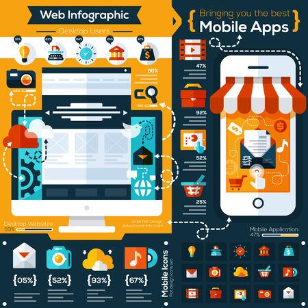 set van platte ontwerp illustraties en vlakke pictogrammen voor mobiele telefoon en web apps. Pictogrammen voor sociaal netwerk, het delen van bestanden, online winkelen en mobiele diensten