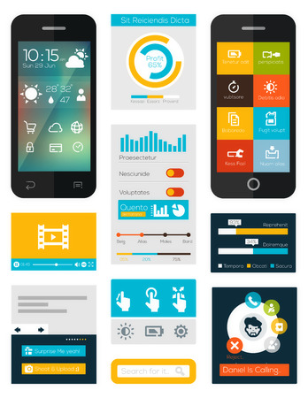 set of flat mobile elements, flat mobile phones and flat design icons for mobile app and web Illustration