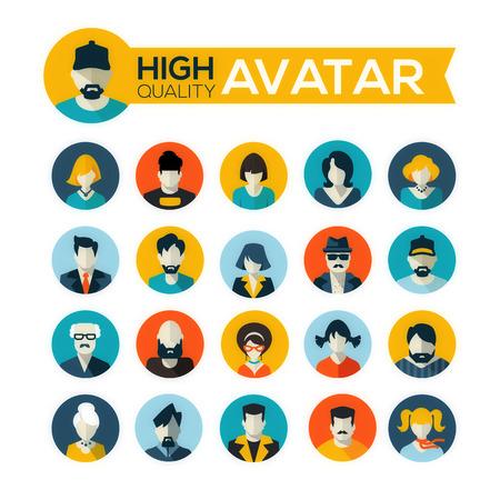 Zeichen: Satz von 20 flachen Bauweise Avatare Icons, f�r den Einsatz in mobilen Anwendungen, Website-Profilbild oder in Socil Netzwerke