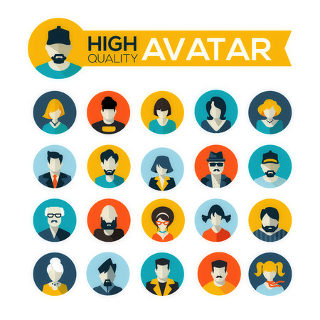 character: set of 20 flat design avatars icons, for use in mobile applications, website profile picture or in socil networks