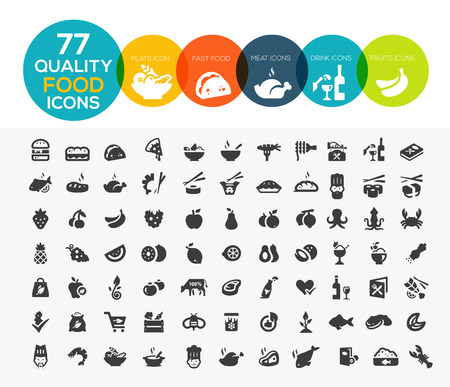 77 högkvalitativa livsmedel ikoner, bland annat kött, grönsaker, frukt, skaldjur, efterrätter, dryck, mejeriprodukter och mer