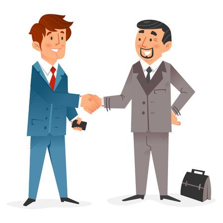 cerrando negocio: Diseño plano de un hombre de negocios moderno contento con el teléfono inteligente de cerrar un trato con un hombre de negocios de alto con un maletín Vectores