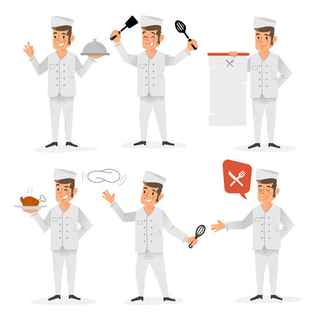 learning to cook: Flat design of a happy chef in various positions and gestures