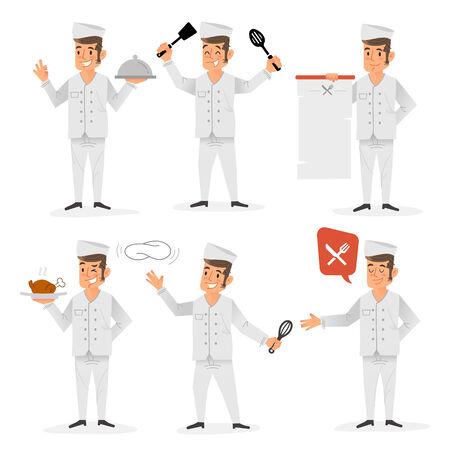 Platte ontwerp van een gelukkig chef-kok in verschillende posities en gebaren Stock Illustratie