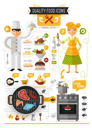 brandweer cartoon: Eten Infographic Stock Illustratie