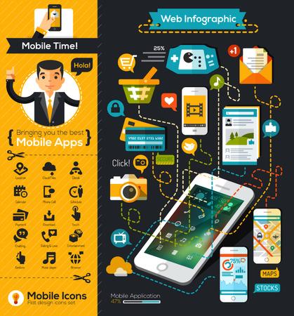 モバイル インフォ グラフィック グラフ フラットなデザイン スタイル  イラスト・ベクター素材