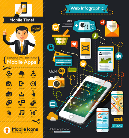 Tabla infografía móvil estilo diseño plano Foto de archivo - 36821561