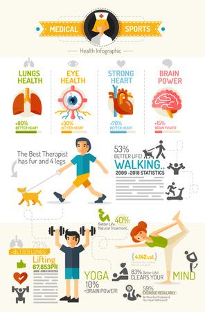 fitness: Gezondheid Infographic kaart platte design stijl Stock Illustratie