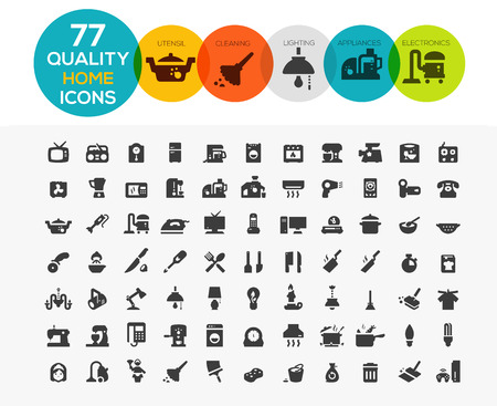 cleaning: Home Icons including: home appliances, cleaning, kitchen utensil, lighting and electronics