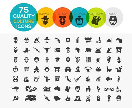 Culture icons including, old west, Africa, Australia, Japan and Russia