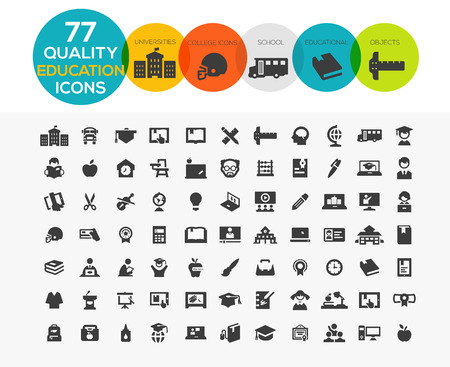High Quality Education Icons including: teaching, University and college, Online study and more.. Stock Vector - 38737095
