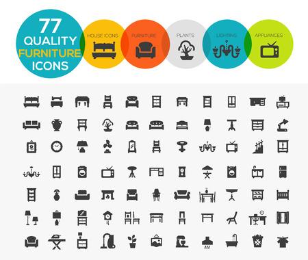 icon set: Hoge kwaliteit Meubilair Pictogrammen waaronder: Bedden, kantoren, accessoires, apparaten etc ..