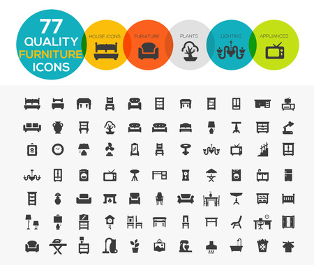 High Quality Furniture Icons including: Beds, offices, accessories, appliances etc..