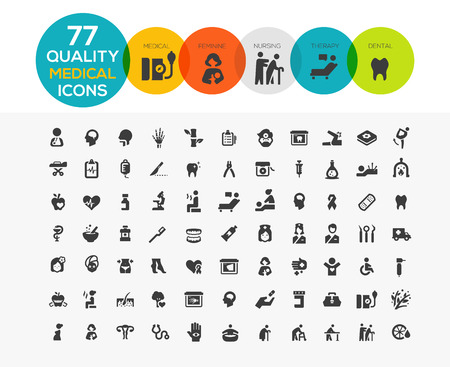 High Quality Medical Icons including: spa, elder care, feminine health care, dental etc.. Vettoriali