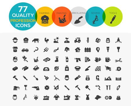 Beroep Icons waaronder Framing, schilderen, metselen, naaien en gereedschappen Stock Illustratie