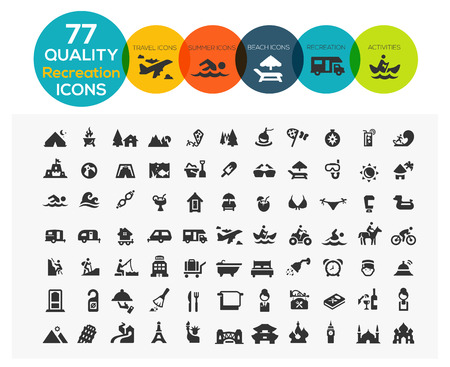 77 High Quality Recreation Icons including: travel, beach, sports, hotel and camping Vector
