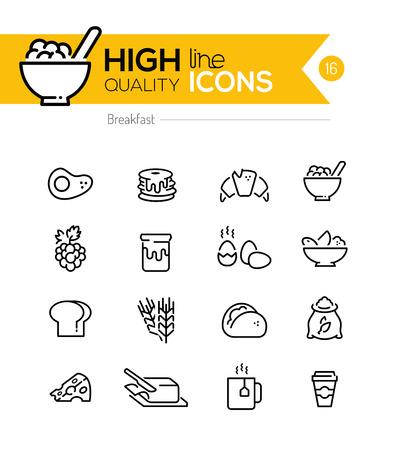アイコン ライン シリーズなどを含む朝食: パンケーキ、シリアル、バターなど.  イラスト・ベクター素材