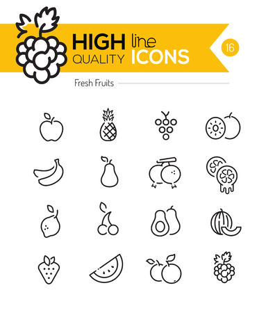 pineapples: Fruits Line Icons including: Raspberry, banana, pineapple etc..