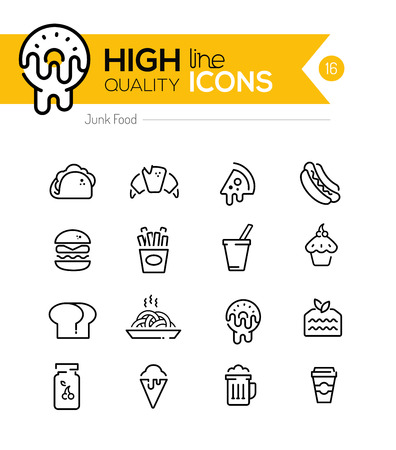 food and beverages: Junk Food Line Icons including: fast food, sugar, alcohol etc..