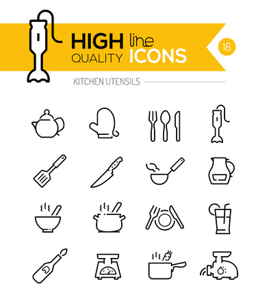 measuring spoon: Kitchen Utensils line icons including, cookers, appliances, tools etc..