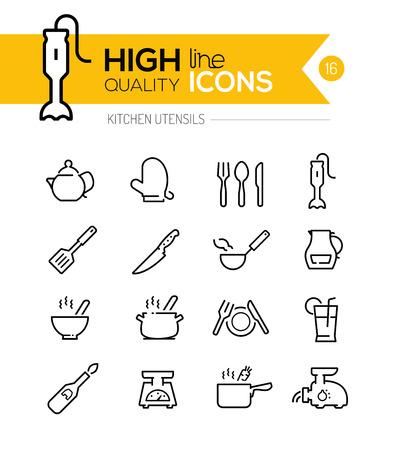 cuchara: Utensilios de cocina iconos de línea incluyendo, cocinas, electrodomésticos, herramientas, etc ..