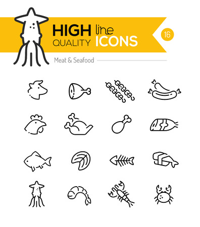Meat & Seafood Line Icons including: Beef, chicken, fish, sushi etc.. Illustration