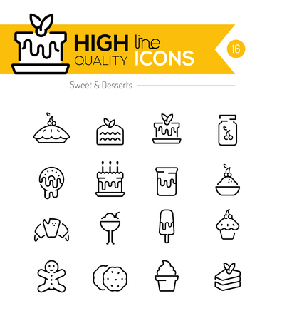 brownie: Desserts and Pastries Line Icons including: cake, donuts, cookies etc..