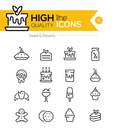galletas de jengibre: Postres y Pasteles L�nea Iconos incluyendo: pastel, donas, galletas, etc .. Vectores
