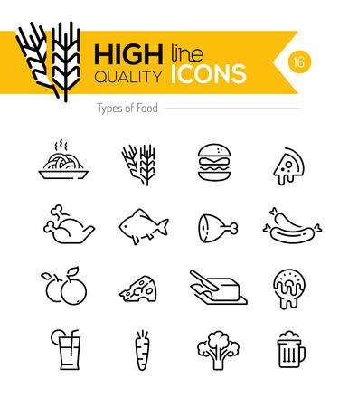aves de corral: Tipos de alimentos Iconos de l�nea, incluyendo: carne, granos, l�cteos, etc .. Vectores