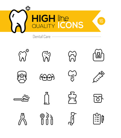 Dental Care line icons series Illustration