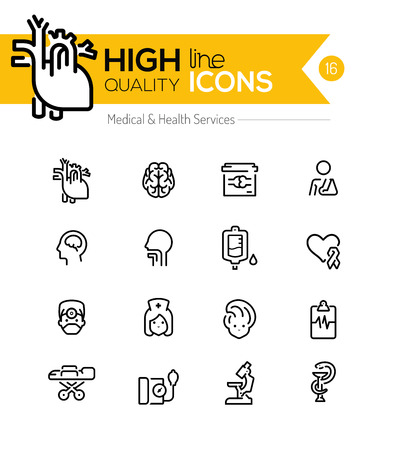 medicine icons: Medical and Health Services line icons series
