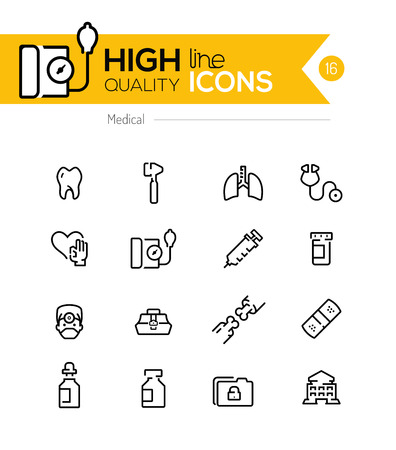 medical condition: Medical line icons series Illustration