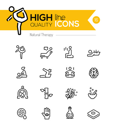 massage: Natural Therapy line icons series