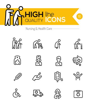 anciano: Enfermería y la línea de cuidado de la salud iconos serie Vectores