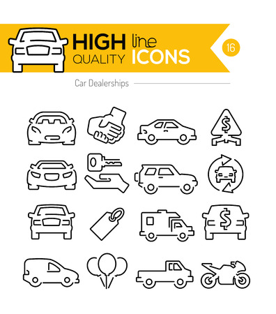 selling service: Car Dealerships line icons Illustration