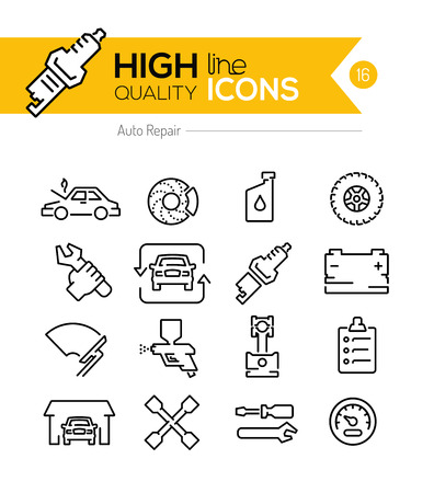 mph: Auto Repair line icons Illustration