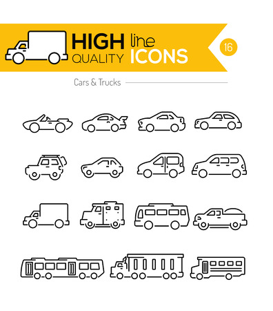 school sport: Cars line icons two Illustration