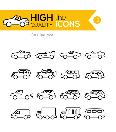 mini car: Cars line Icons Illustration