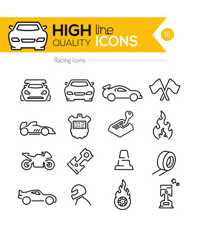 sports helmet: Racing Line Icons