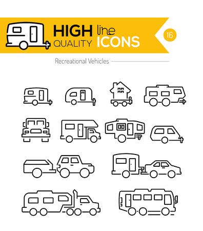 Recreatieve voertuigen lijn iconen
