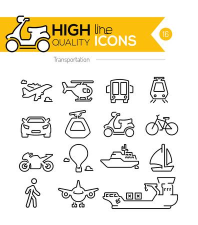transporte: Ícones linha de transporte