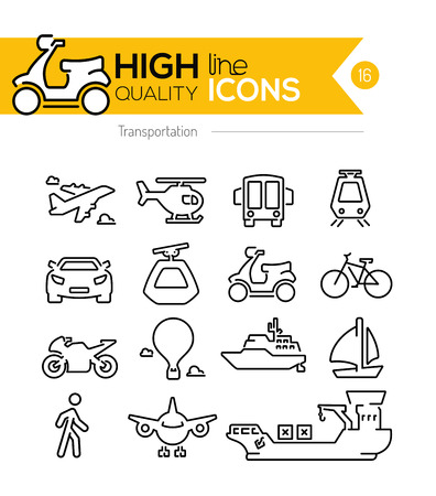 motor transport: Transportation Line Icons