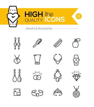fashion jewellery: Jewelry and Accessories line icons series Illustration