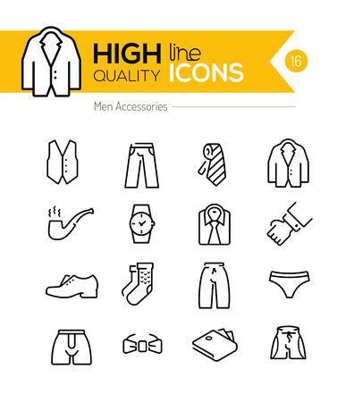 Mannen accessoires lijn iconen serie Stock Illustratie