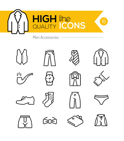 cloths: Men accessories line icons series