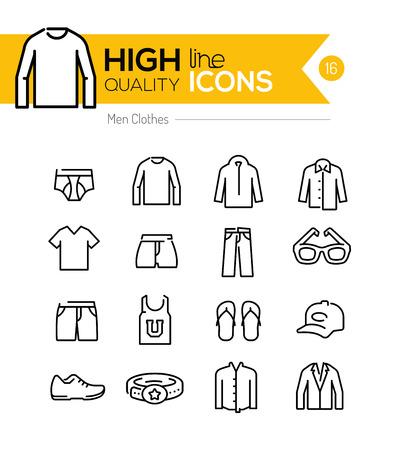 Línea de los hombres la ropa iconos serie