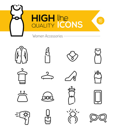 skirt suit: Women Accessories line icons series Illustration